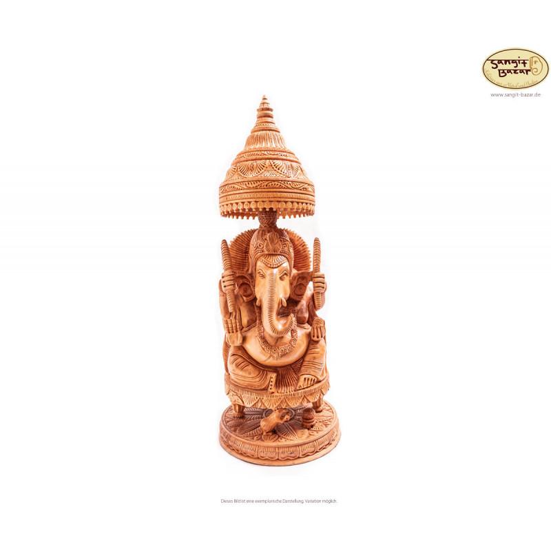 Ganesh Statue aus Holz, 42cm - indische Handarbeit