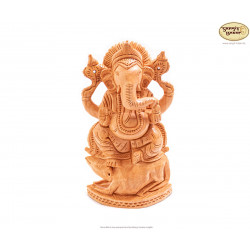 Ganesh Statue aus Holz, 20cm - indische Handarbeit