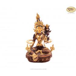 Grüne Tara Statue aus Messing mit Blattgold, 21cm