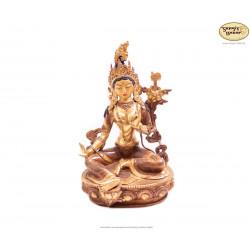 Vergoldete Messing Statue Grüne Tara 21cm aus Nepal