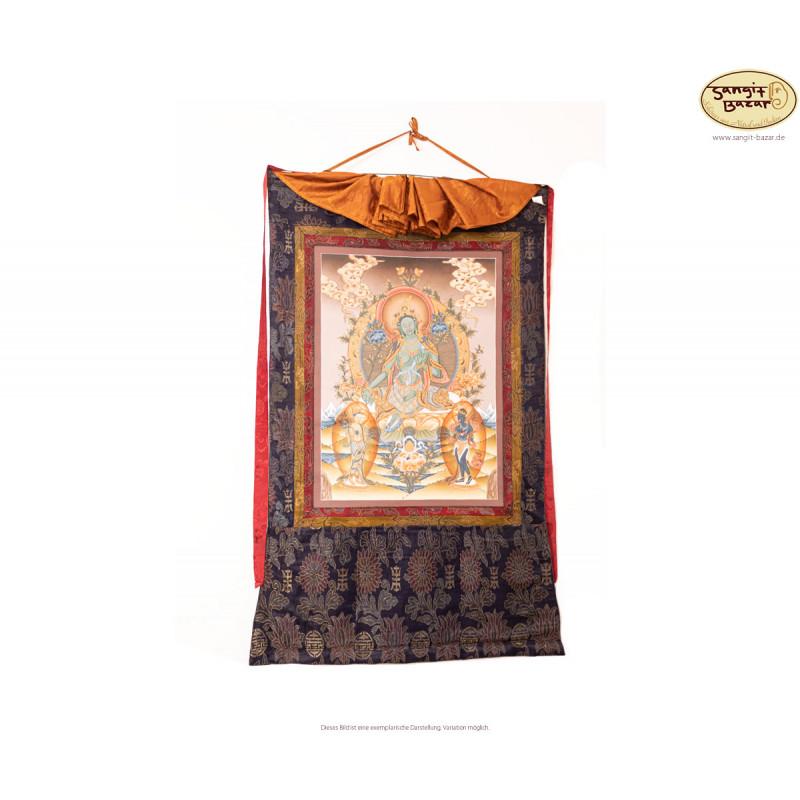 Handgemalter traditioneller Grüne Tara Thangka aus Bhaktapur,