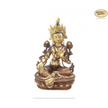 Vergoldete Messing Statue Grüne Tara 33cm aus Nepal