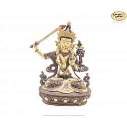 Original vergoldete Messing Statue Manjushree 21cm