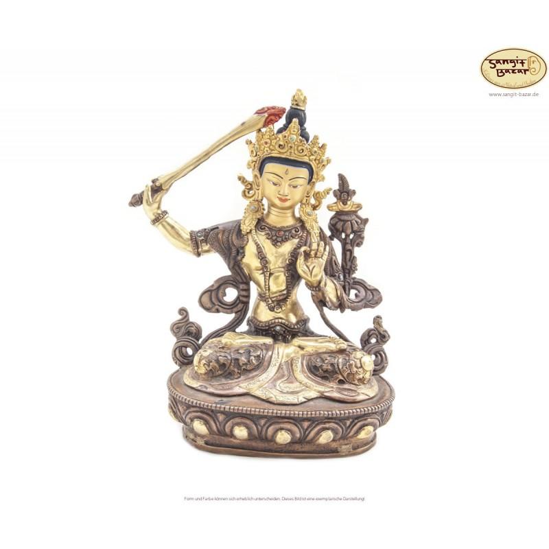 Original vergoldete Messing Statue Manjushree 21cm