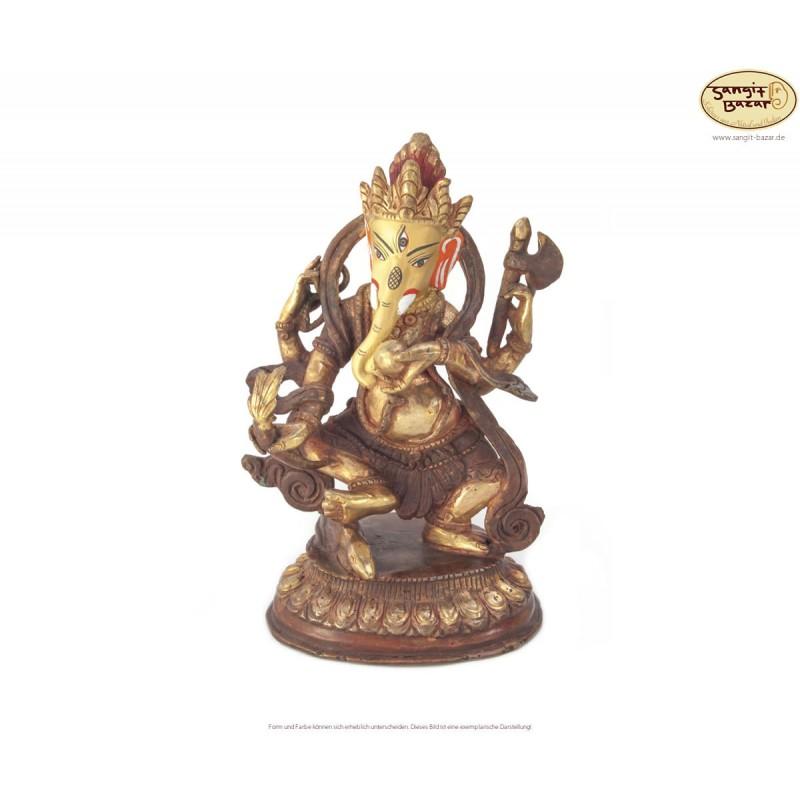 Original vergoldete Messing Statue Dancing-Ganesh 18cm