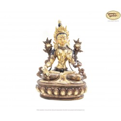 Statue Weisse Tara, Messing vergoldet, 18cm hoch - Rarität!