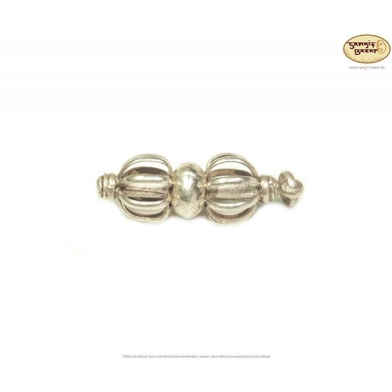 Silber Anhänger Vajra / Dorje / Donnerkeil aus Nepal, 3cm lang