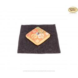 Klangschalenuntersetzer gelb aus Baumwolle