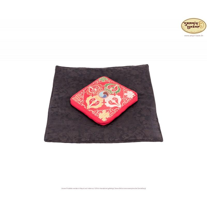 Klangschalenuntersetzer rot aus Baumwolle