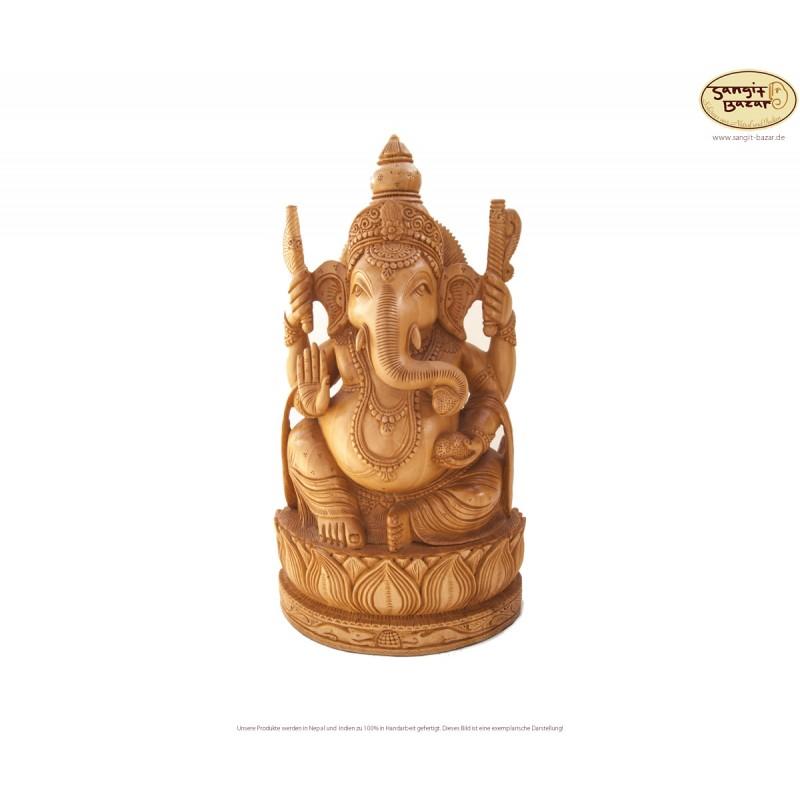 Ganesh Statue aus Holz, 33cm - indische Handarbeit