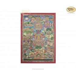 Thangka Buddha Life ca. 58cm x 86cm aus Nepal