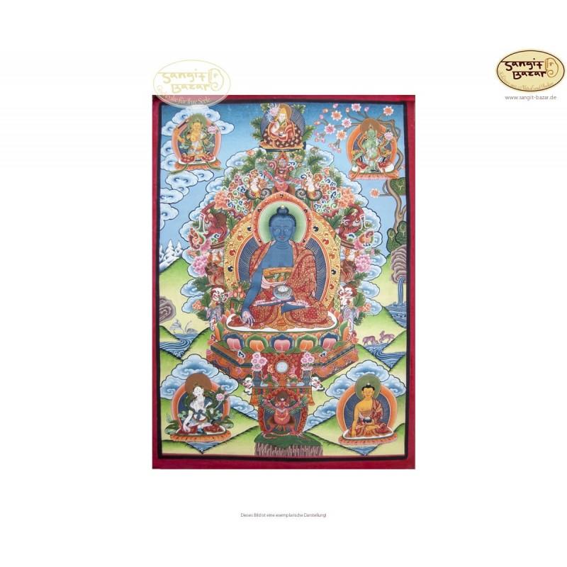 Thangka Medicine Buddha ca. 36cm x 51cm aus Nepal by Madhu Chitrakar
