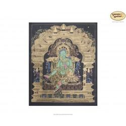 Thangka Grüne Tara ca. 58cm x 68cm aus Nepal