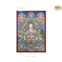 Thangka Weisse Tara ca. 43cm x 62cm aus Nepal by Madhu Chitrakar
