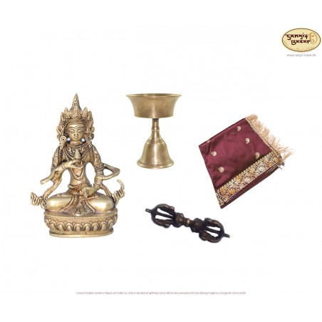 "Tempel-Set ""Januar-Spezial"", bestehend aus Messing Vajrasatva, Butterlampe, Tischdekce in bordeaux & Dorje"
