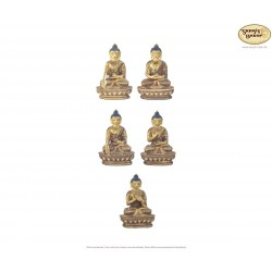 Original vergoldete Messing Statuen Pancha Buddha Set